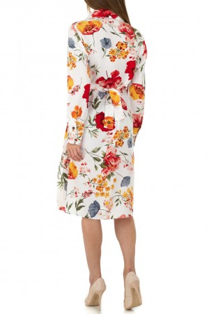 Λευκό μίντι φλοράλ φόρεμα JCL KL-01118