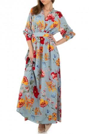 Μπλε ανοιχτό μάξι φλοράλ φόρεμα JCL KL-01102