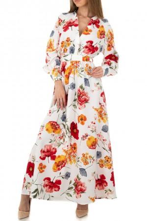 Λευκό μάξι φλοράλ φόρεμα JCL KL-01102