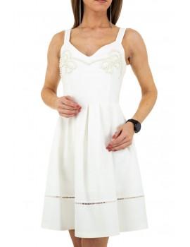 Λευκό skater φόρεμα με κέντημα από πέρλες Drole de Copine KL-20911