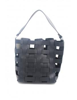Μαύρη τσάντα με σχέδιο πλέξης