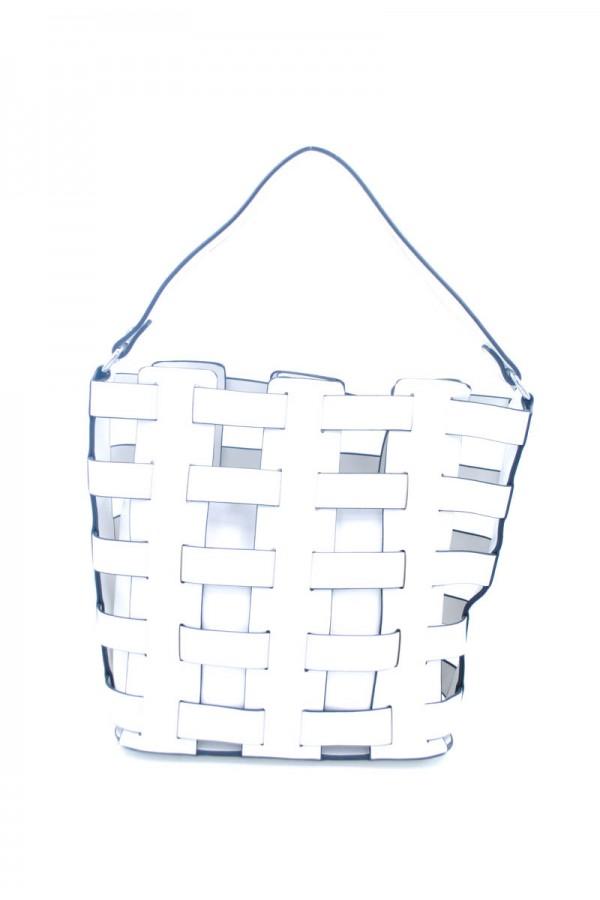 Λευκή τσάντα με σχέδιο πλέξης