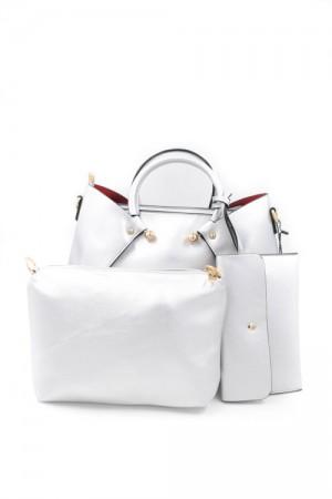 Ασημί τσάντα χειρός με χερούλια κρίκους