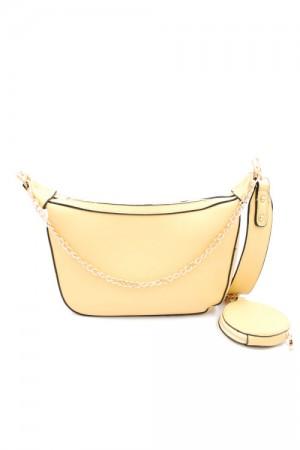 Κίτρινο παστέλ τσάντα ώμου με λουράκι και αλυσίδα