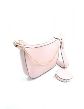 Ανοιχτό ροζ τσάντα ώμου με λουράκι και αλυσίδα