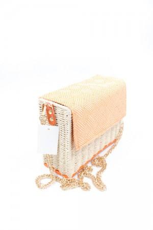 Ψάθινη τσάντα ώμου με αλυσίδα - Πορτοκαλί