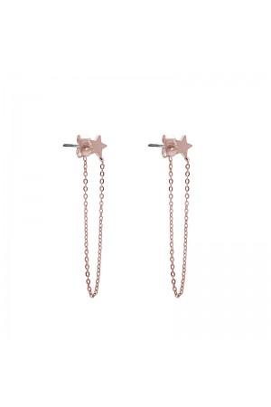 Σκουλαρίκια αστέρια με αλυσίδα από ανοξείδωτο ατσάλι - Ροζ χρυσό