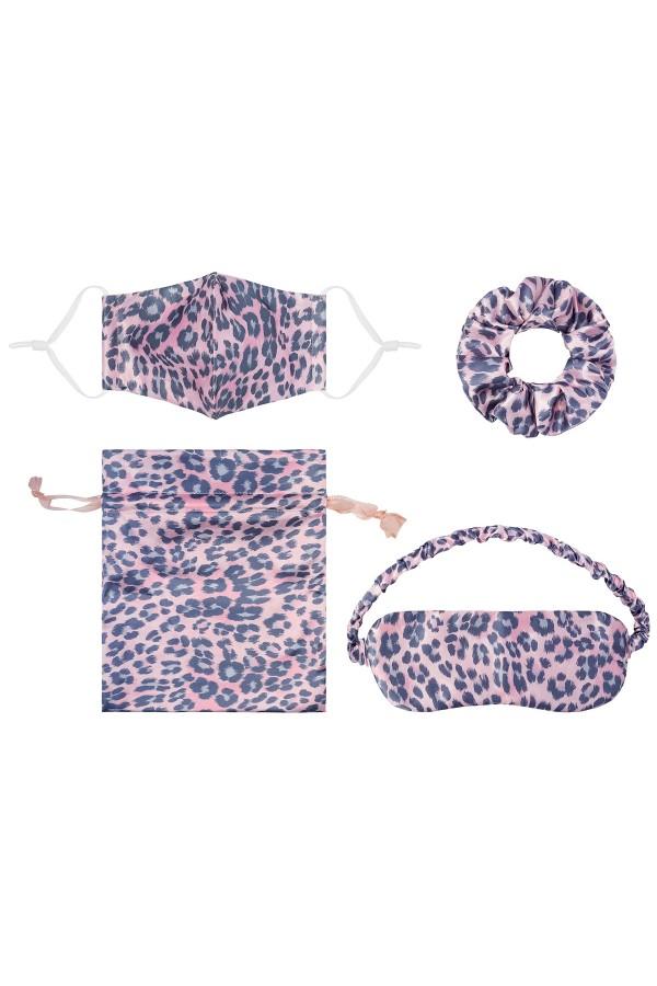 Ροζ λεοπάρ σετ μάσκα - scrunchie - μάσκα ματιών σε πουγκάκι