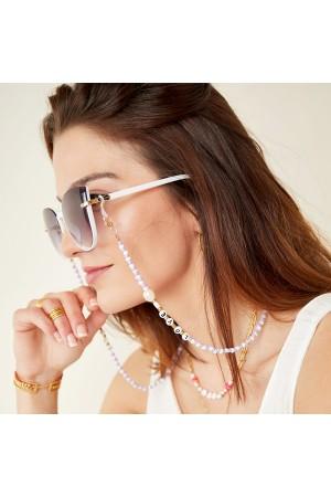 """Αλυσίδα γυαλιών/μάσκας με χάντρες """"Love"""" - Λιλά"""