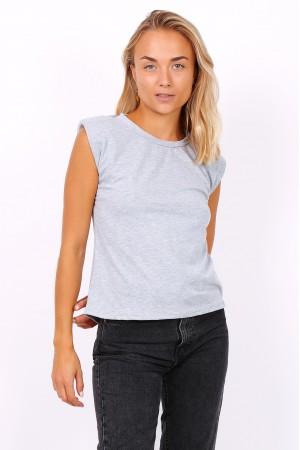 T-shirt με βάτες - Γκρι