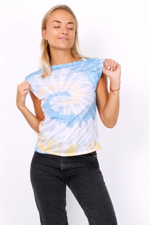 Tie dye t-shirt με βάτες - Γαλάζιο