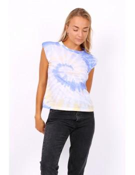 Tie dye t-shirt με βάτες - Μπλε