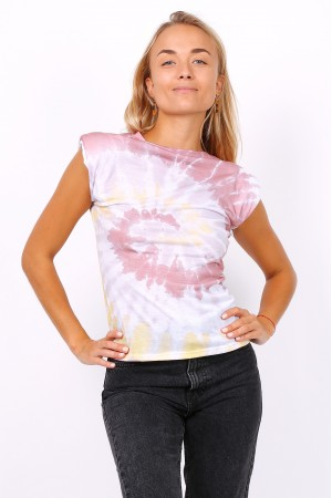 Tie dye t-shirt με βάτες - Ροζ