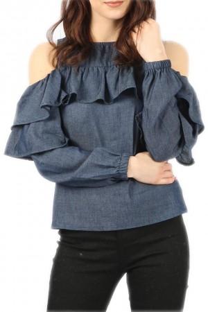 Μπλουζάκι με ανοιχτούς ώμους και βολάν