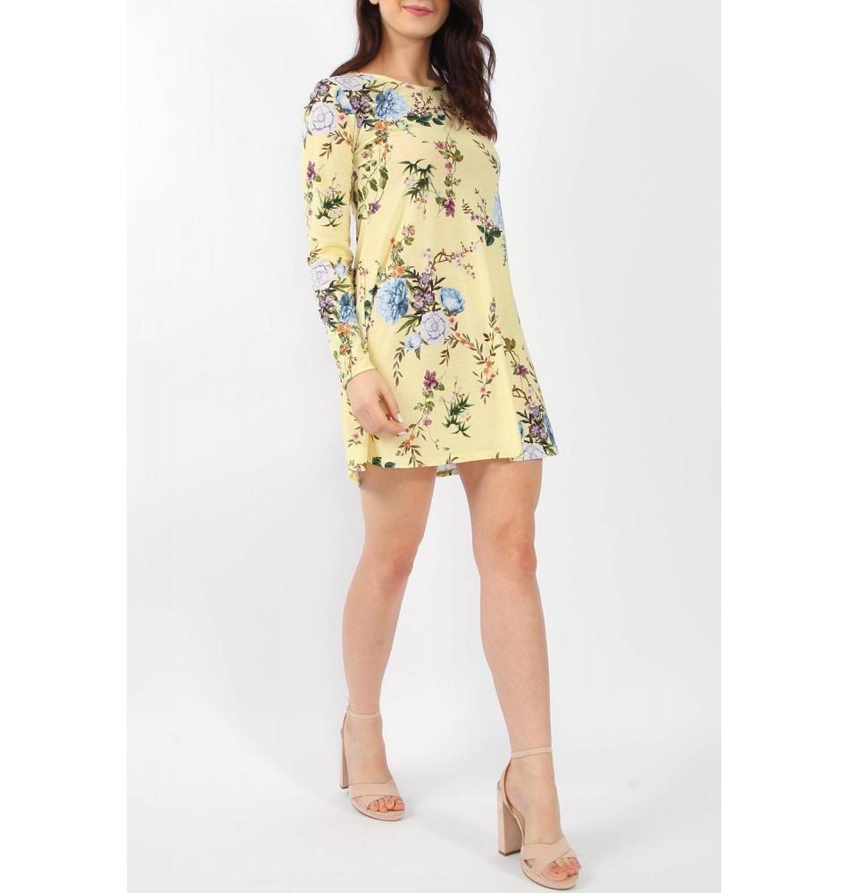 16e8599f82ab Κίτρινο Φλοράλ Ριχτό Φόρεμα