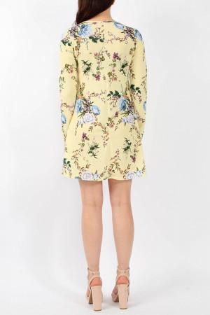 Κίτρινο Φλοράλ Ριχτό Φόρεμα