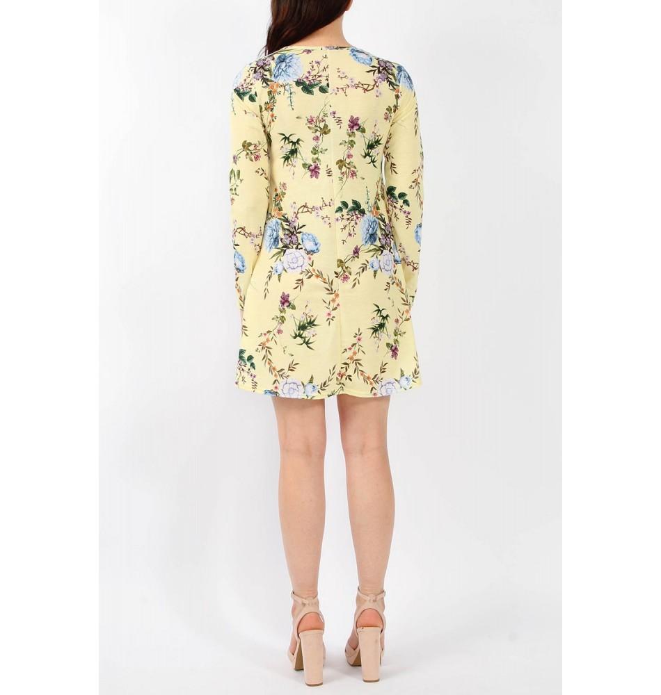 f79154167f0 Κίτρινο Φλοράλ Ριχτό Φόρεμα