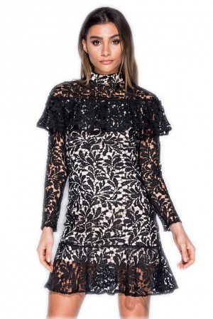Φόρεμα με δαντέλα και βολάν