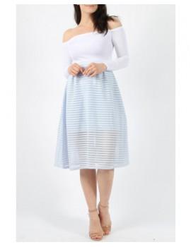 Μπλε παστέλ μίντι φούστα με διάφανες ρίγες